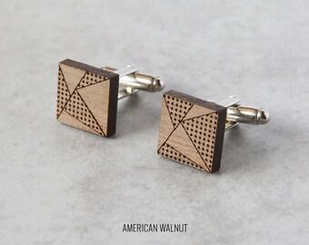 Square Geometric cufflinks, wood cufflinks, 5th year anniversary gift, laser cut wedding cufflinks