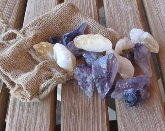 Asorted 4 polished Citrine &4  Amethyst gem stones in burlap bag.