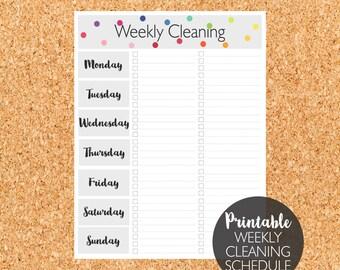 Printable Weekly Cleaning Schedule, Weekly Cleaning, Cleaning Schedule, Cleaning Planner
