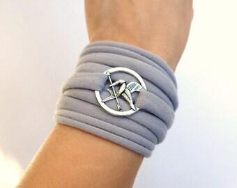 Archery jewelry mockingjay arrow bracelet t shirt bracelet gift for her pull on bracelet wrist cuff stretchy bracelet