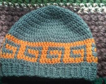 Crochet beanie with spirals