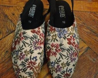 VINTAGE Girl's Floral Embroidered Slingback Shoes Size 1.5