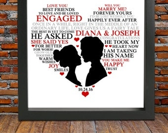 Personalized Engagement Gift Framed - Engagement gift,Engagement present, valentines gift, valentines day gift ideas unique engagement gift