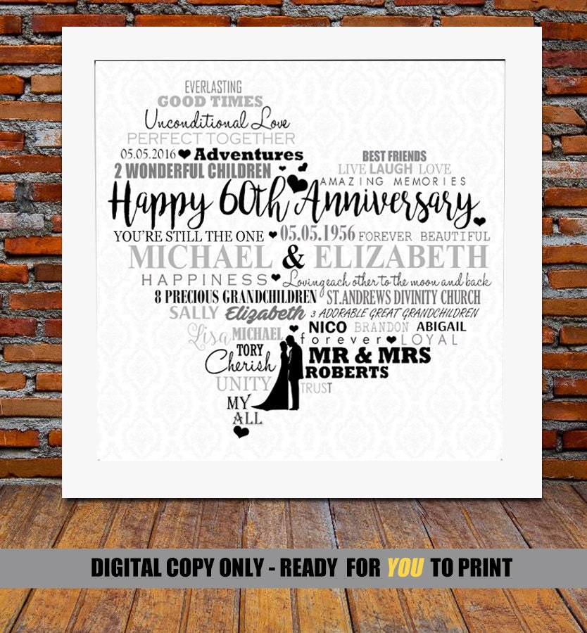 Gifts For 60th Wedding Anniversary: Personalized 60th Anniversary Gift Diamond Wedding