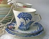 Vintage Mismatched Bone ChinaTea Cup Trio , vintage tea party, English china.
