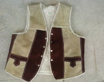 Vintage Mexico suede leather vest XL