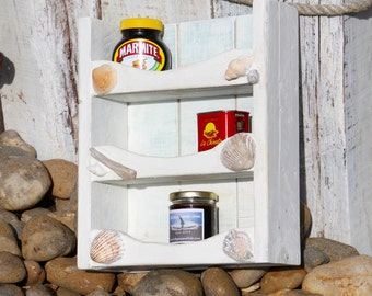 Shabby Chic Reclaimed Up cycled Wooden Shelving with driftwood and shell detail