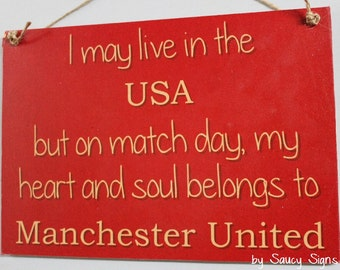 USA Manchester United Fan EPL Soccer Football - Wooden Sign