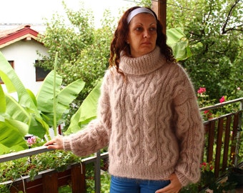 New Hand Knitted Mohair Sweater,Beige , Thick and Fuzzy Pullover,Handmade