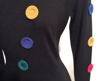 Andrea Jovine Button Dress 100% Fine Knit Wool Size Small