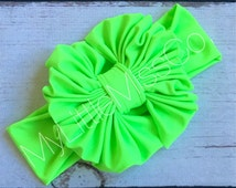 Neon Green Floppy Bow, Baby girl, messy bows, baby girl headbands, Messy bow head wrap, turban, swim proof bows, swimming bows, baby girl'