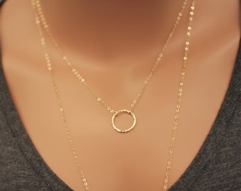 Dainty Circle Necklace -  14k Gold Filled - Karma necklace
