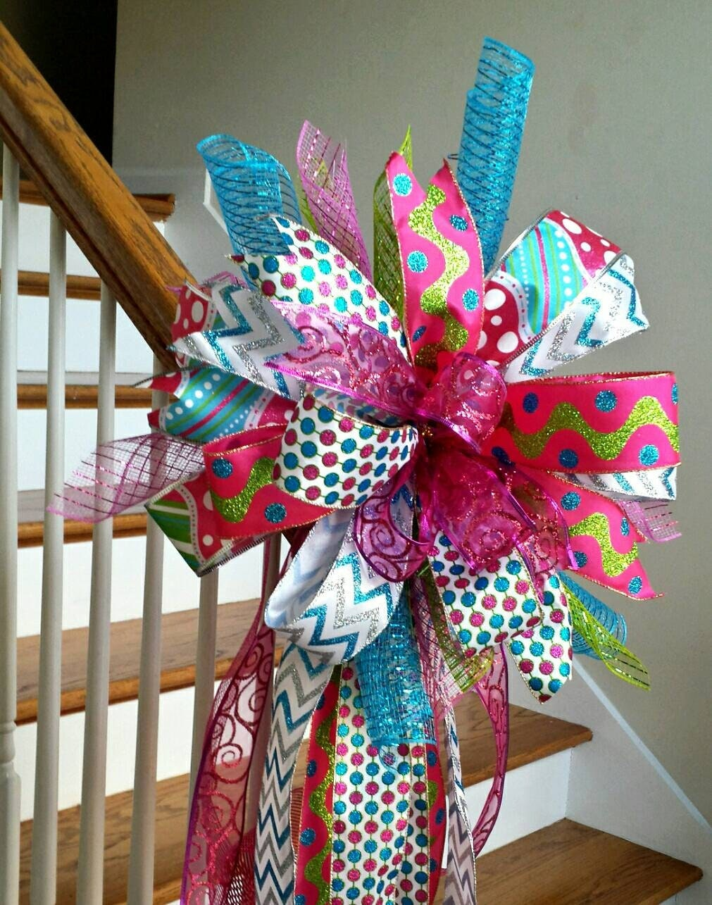 Pink and Turquoise Christmas Tree Topper Deluxe Glitter