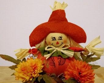 Scarecrow Arrangement, Kitchen Decor, Thanksgiving Table Decoration, Fall Floral Arrangement
