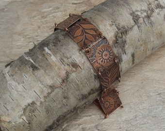 Copper etched bracelet