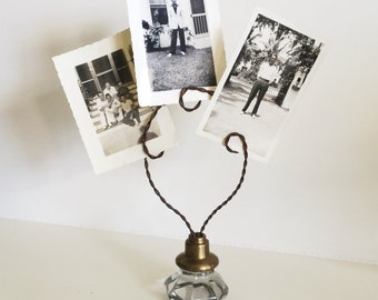Upcycled Vintage Glass Door Knob Picture Holder