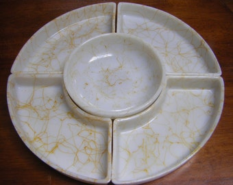 Hazel Atlas Drizzle Pattern Lazy Susan 5 Pieces Yellow Drizzle on White Milk Glass