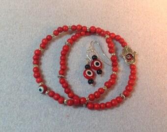 Evil eye bracelet and earring set