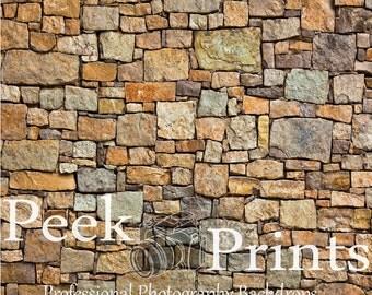 2ft.x2ft. Earth Tone Stone Wall Vinyl Photography Backdrop - Item TR032