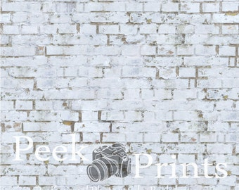 5ft.x5ft. Vintage Painted White Brick Vinyl Photography Backdrop - White Brick Background - Large Printed Prop