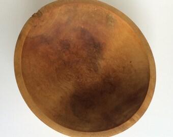 Large Primitive Vintage Wooden Bowl. Simple Rustic Handcrafted Solid Wood Serving or Centerpiece Bowl. No Carved Decoration. Unfinished.