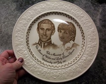 Commerative plate of Royal Wedding Prince Charles and Lady Diana Spencer Marriage 1981.