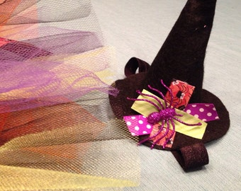Baby or Toddler Witch Costume tutu and hat headband