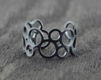 black oxidized open circle ring, geometric ring, round geometric ring, oxidized ring, adjustable ring
