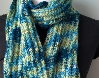 Hand knit merino wool scarf, long merino wool scarf. Winter long scarf.
