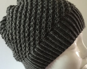 Hand knit wool beanie, wool slouchy hat, gray wool hat,  gray wool beanie.