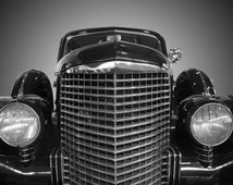 Drag Car, Print Of A 1950s Classic Vintage Car Automobile. Black & White Photography Picture, B And W Art Prints Framed / Unframed