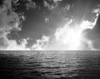 Sunset Over The Southern Ocean, A Sunset Over The Southern Ocean. Black & White Photography Picture, B And W Art Prints Framed / Unframed