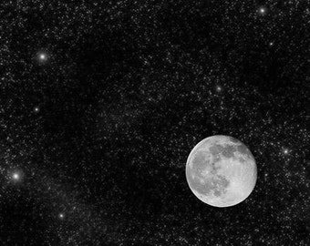 The Galaxy, Moonscape Full Moon And Stars At Night. Black & White Photography Picture, B And W Art Prints Framed / Unframed