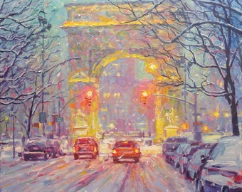 Washington Square Park, Winter, - fine art giclée print of an original Impressionist painting by Robert Padovano