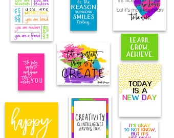 Set of 20 Classroom Art, Classroom Decor, Kid's Wall Art, Inspirational Art Quotes, Teacher Art - Play Room Art Prints - Instant Download