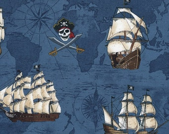 Pirate's Map and Ships on Blue cotton fabric, by Timeless Treasures
