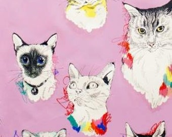 Alexander Henry's Meow Wow Kitty's on Lavender Cotton Woven