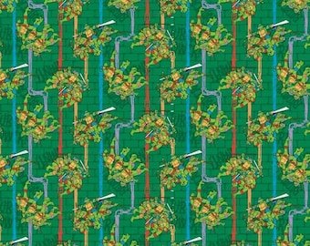 Ninja Turtles Pipeline on Green Cotton Woven