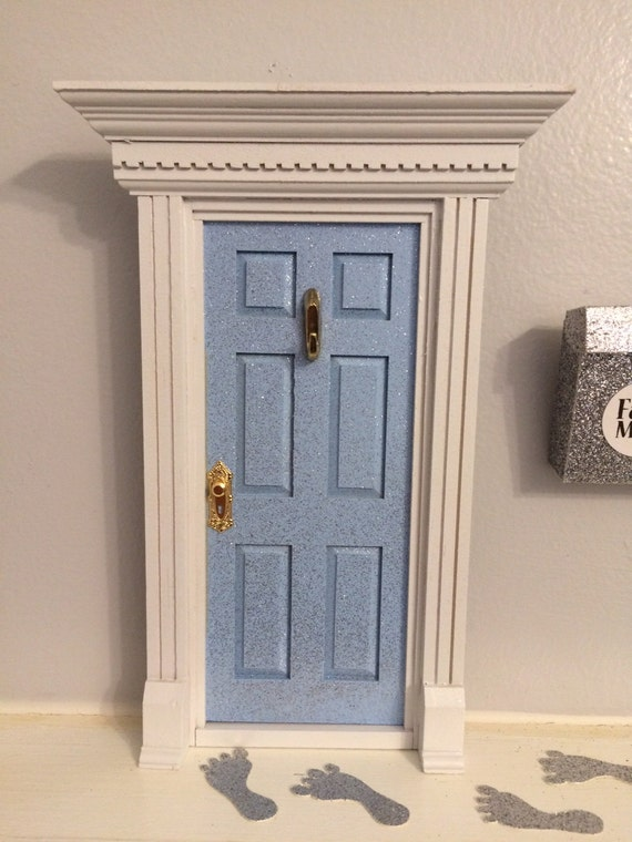Light blue glitter fairy door by 15monkeys on etsy for The works fairy door