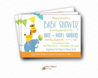 Animal Baby Shower Printed or Printable Invitations. Giraffe Elephant Baby Shower.  Couples Shower Gender Neutral, Boy Gender Neutral  Zoo