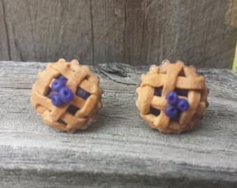 Polymer Clay Blueberry Pie Earrings, Pie Earrings, Polymer Clay Earrings,