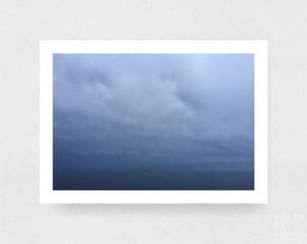 ocean beach photograph - coastal decor - sea - ships - wall art - landscape - square prints | LARGE FORMAT PRINT