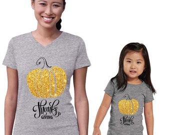 Thanks Giving Gold Pumpkin Mommy and Me Heather Shirts Set