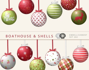 Digital scrapbook embellishments - 12 CHRISTMAS BAUBLES - Holiday Ornaments, clip art, printable, instant download, 300 dpi, PNG - 282