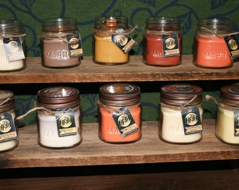 8 oz. Soy Candle in Square Mason Jar w/Rustic Lid