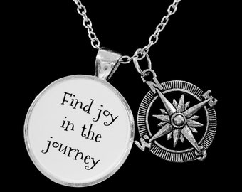 Compass Find Joy In The Journey Necklace, Inspirational Nautical Direction, Graduation, Gift Mom Best Friend Sister Necklace