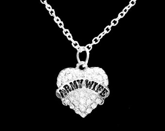 Crystal Heart Army Wife Necklace, Gift For Soldier's Wife Charm Necklace