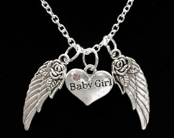 Baby Girl Guardian Angel Wing, Daughter In Heaven, In Memory Necklace