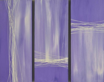 Purple and White Canvas Triptych Painting | 36x30, Home Decor, Office Decor, Wall Decor, Wall Art, Abstract Painting, Affordable Art