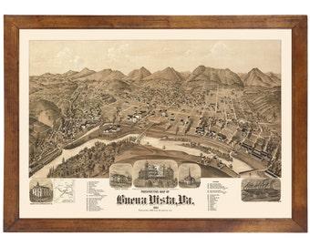 Buena Vista, VA 1891 Bird's Eye View; 24x36 Print from a Vintage Lithograph